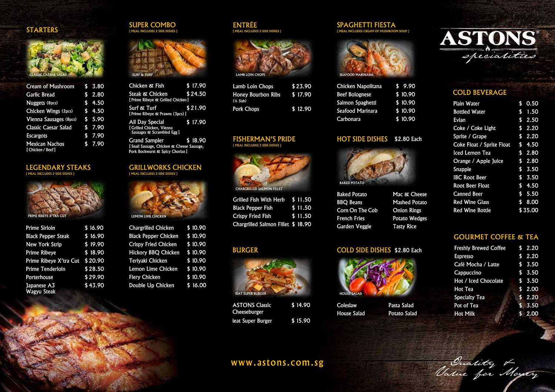 astons specialities menu